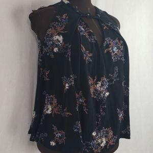 FP FREE PEOPLE black floral gauzy tank  blouse xs